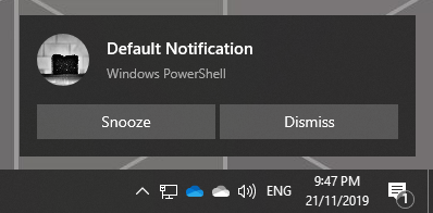 Snooze and Dismiss Toast without Options