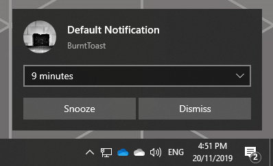 System Default Snooze and Dismiss Toast