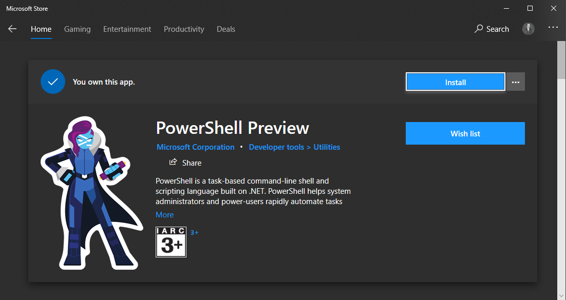 PowerShell in the Microsoft Store