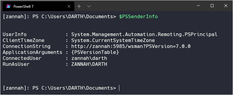 $PSSenderInfo Output Example