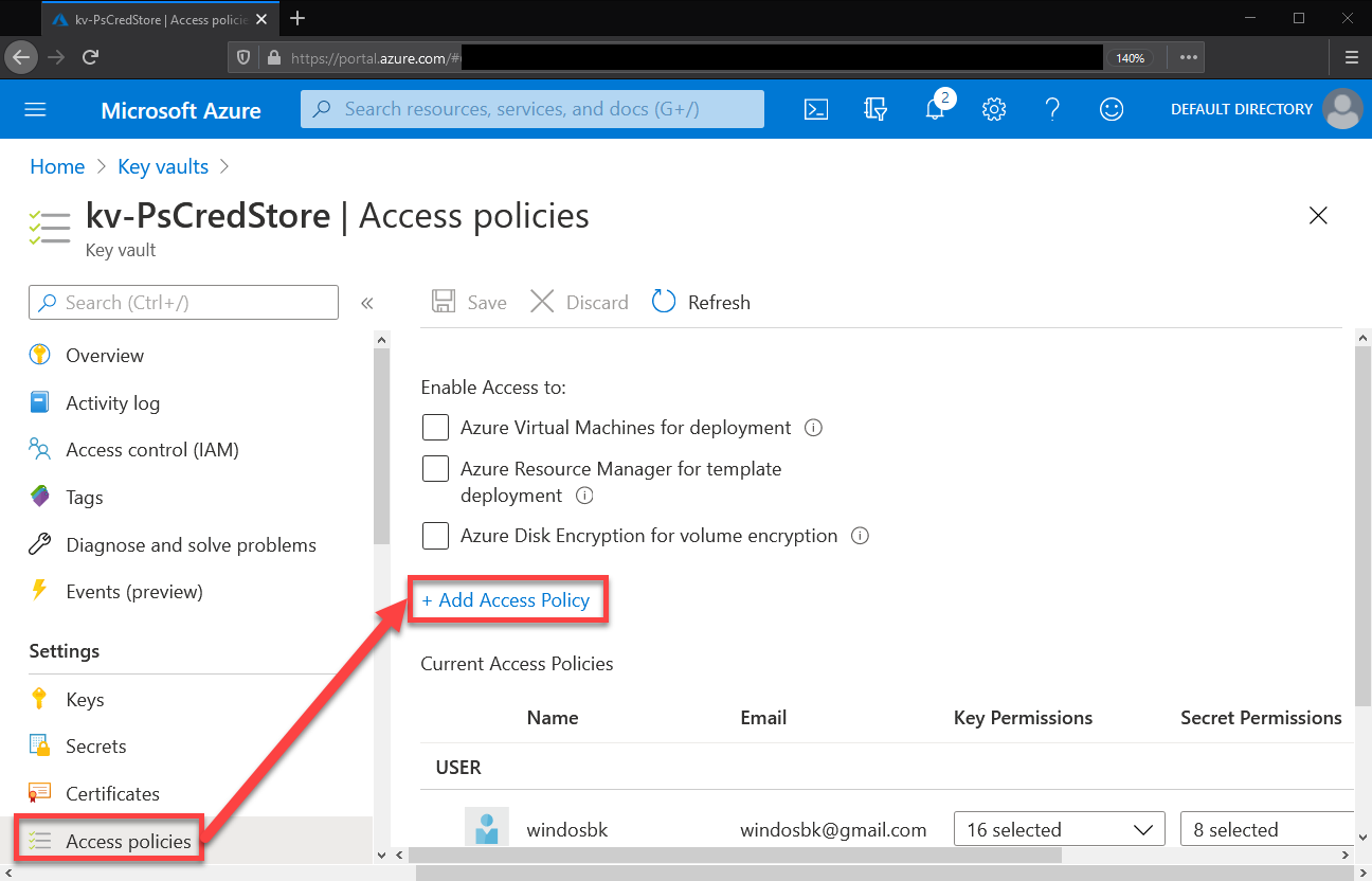 Access policies settings
