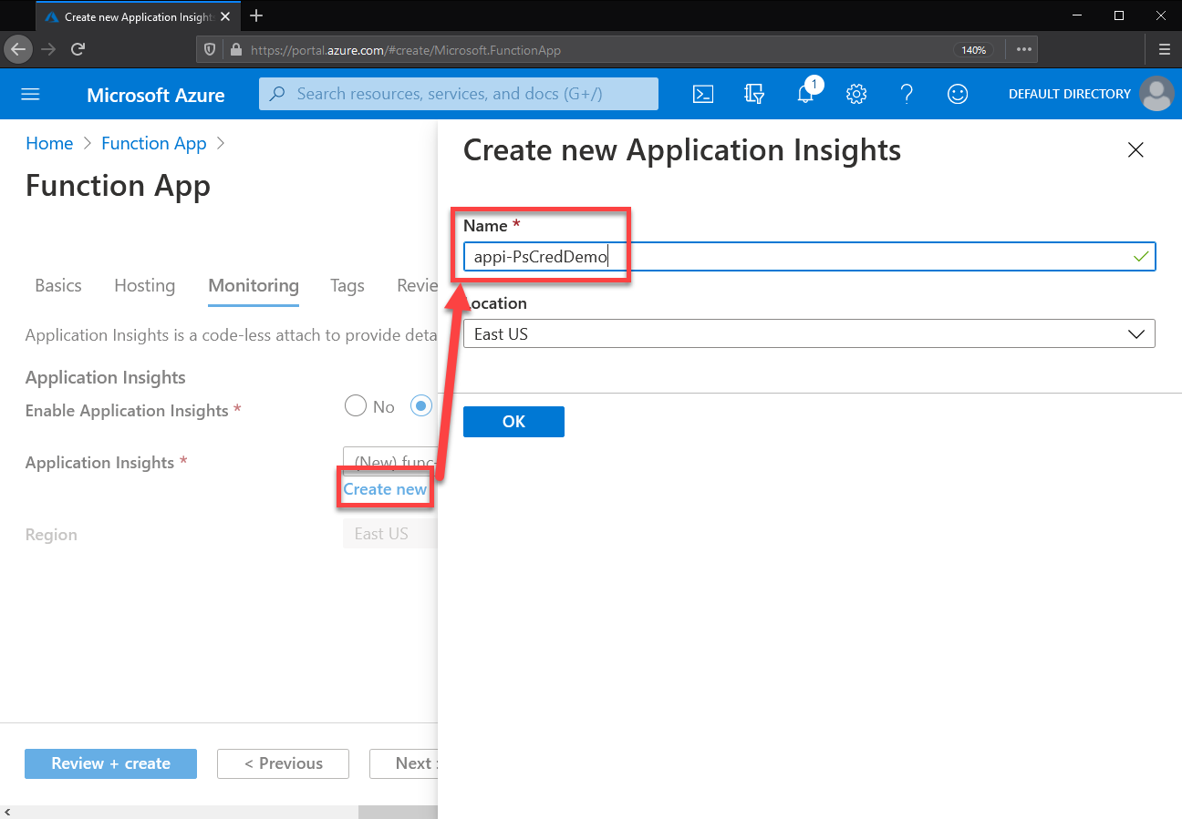 Creating new Application Insights instance