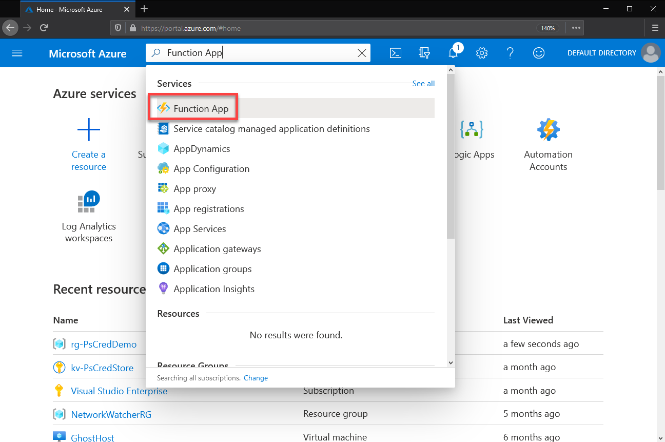 Searching for Function App service in the Azure Portal