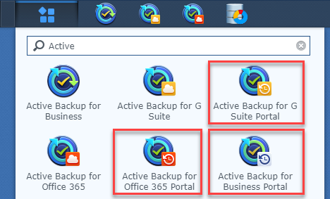 """Search results for """"Active"""" highlighting the three Portal icons"""