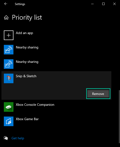 Removing a default app from the priority list
