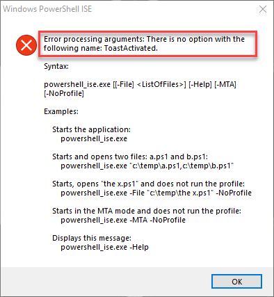 Error message on toast click while PowerShell ISE closed
