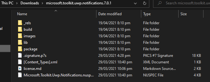 Directory contents of an extracted nupkg file